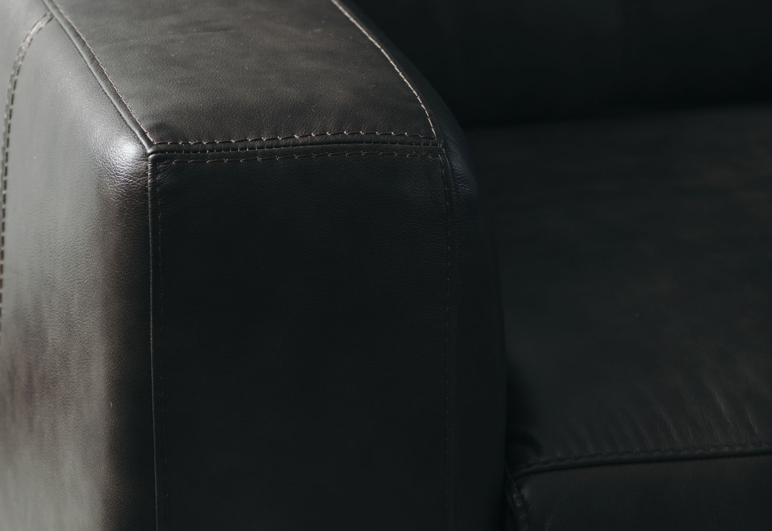 Sofá de cuero reclinable dark grey